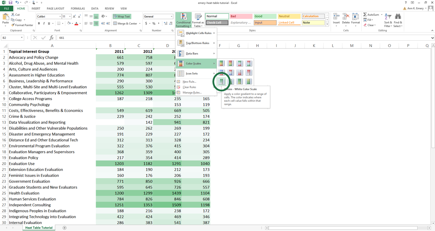 You can set up rules in your spreadsheet that automatically change the color of certain cells based on their values. I regularly use heat tables to scan my dataset for patterns. You can follow my step-by-step tutorial to make heat tables for your data.