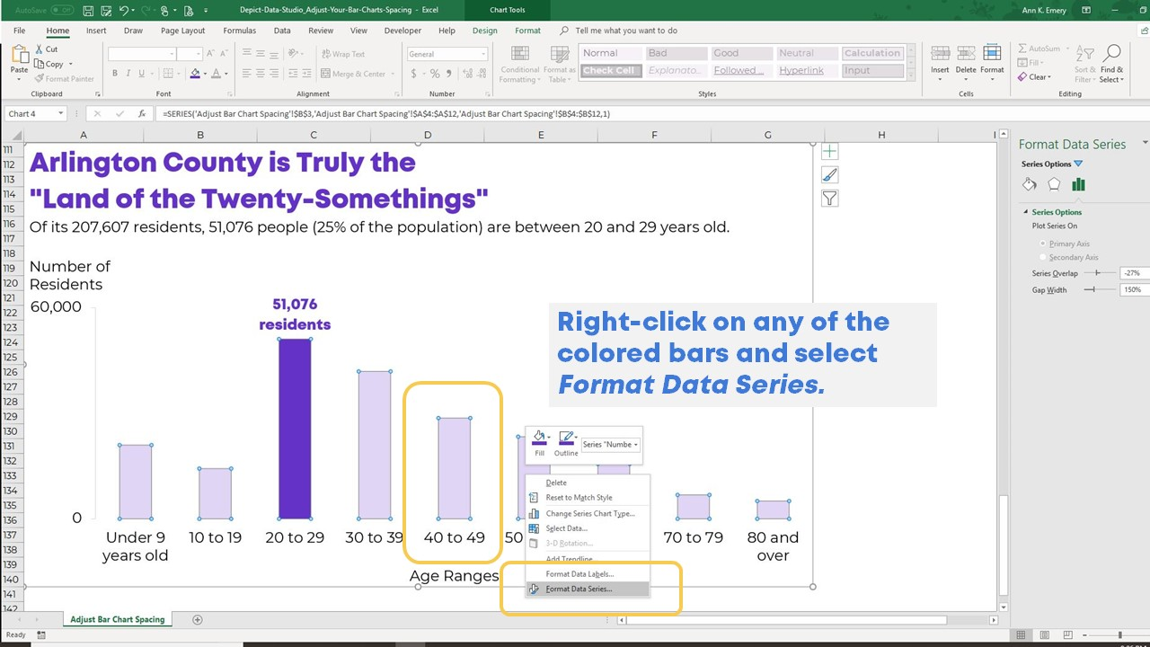 How to Adjust Your Bar Chart's Spacing in Microsoft Excel