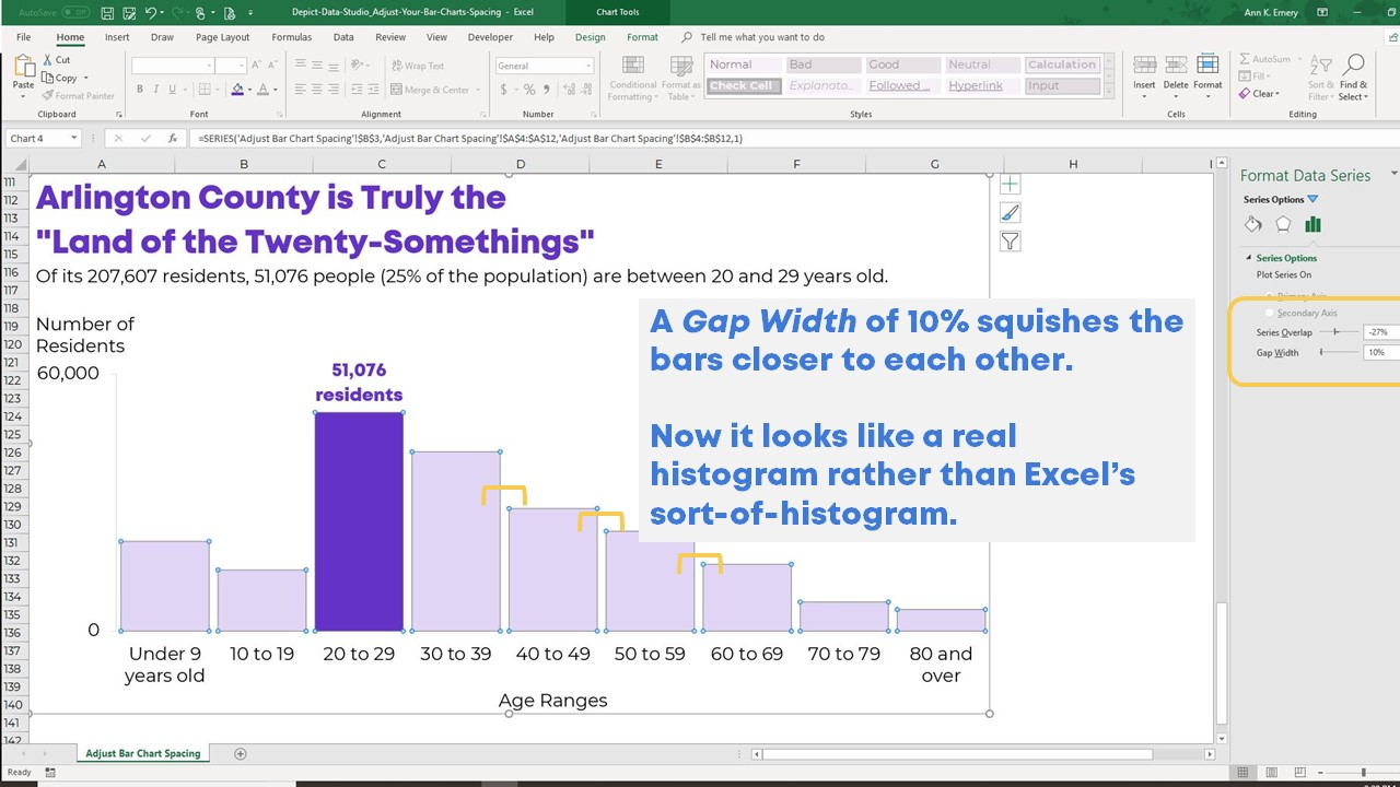 How To Adjust Your Bar Chart S Spacing In Microsoft Excel Depict